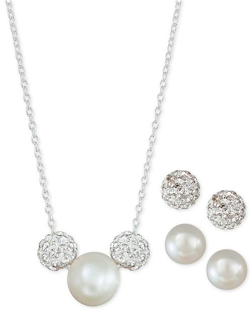Macy's 3-Pc. Set Cultured Freshwater Pearl & Crystal Fireballs Pendant Necklace & 2-Pr. Matching Stud Earrings