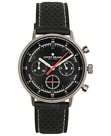 Lucky Brand Men's Chronograph Fairfax Black Perforated Leather Strap Watch 40mm