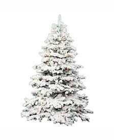 6.5 ft Flocked Alaskan Pine Artificial Christmas Tree With 700 Clear Lights