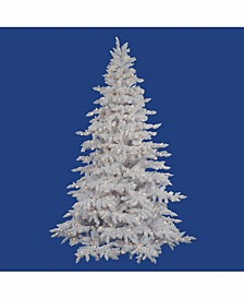 7.5 ft Flocked White Spruce Artificial Christmas Tree With 850 Clear Lights