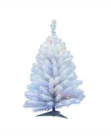 3 ft Crystal White Spruce Artificial Christmas Tree With 50 Multi-Colored Led Lights