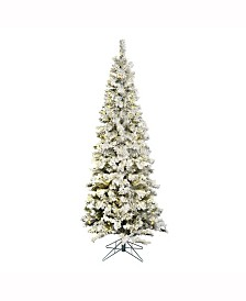 Vickerman 9.5 ft Flocked Pacific Artificial Christmas Tree With 600 Warm White Led Lights