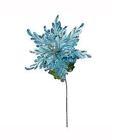 "Vickerman 15"" Sea Blue Velvet Poinsettia Artificial Christmas Pick, 3 Per Bag"
