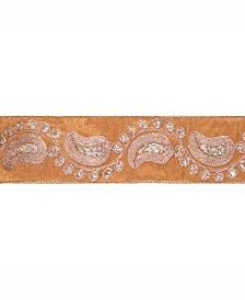 "Vickerman 2.5"" Gold Dupion With Gold Sequin Paisley Christmas Ribbon"