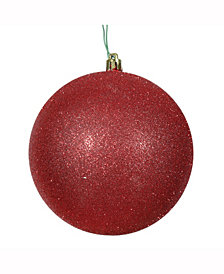 "2.75"" Red Plastic Glitter Ball"