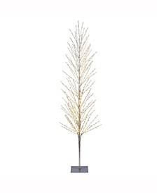 7'  Tree, 680L Warm White Lights, Square Metal Base