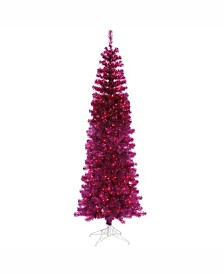 Vickerman 7.5 ft Fuchsia Pencil Artificial Christmas Tree With 400 Purple Led Lights