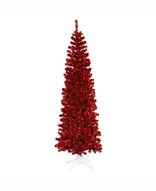 Vickerman 6.5 ft Red Pencil Artificial Christmas Tree With 300 Red Lights