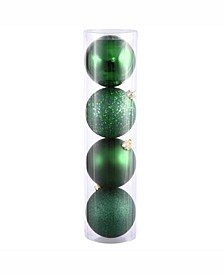 "12"" Emerald 4-Finish Ball Ornament Comes In Shiny"