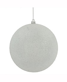 "8"" White Iced Ball Ornament"