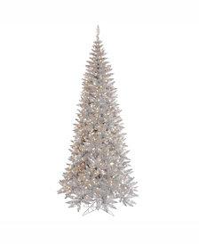 Vickerman 7.5' Silver Tinsel Fir Artificial Christmas Tree