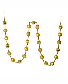 Vickerman 6' Gold Stripe Ball Garland