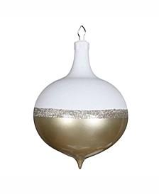 "12"" Champagne Candy/White Glitter Drop Ornament"