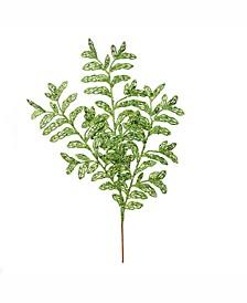 "22"" Lime Bipinnate Glitter Leaf Spray"