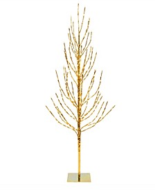 5' Gold Artificial Christmas Tree With 336 Warm White Led Lights