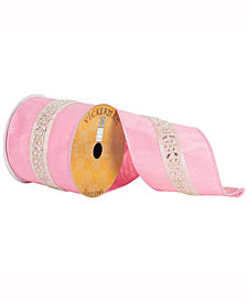 "4"" X 10Yd Pink Ribbon With Diamond Lace Center Stripe"