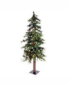 4 ft Mixed Country Alpine Artificial Christmas Tree With 100 Warm White Led Lights