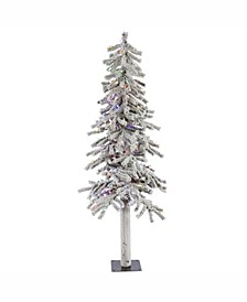 5 ft Flocked Alpine Artificial Christmas Tree With 150 Multi Lights