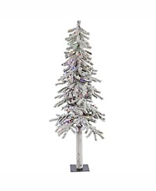 Vickerman 5 ft Flocked Alpine Artificial Christmas Tree With 150 Multi Lights