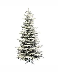 4.5 ft Flocked Sierra Fir Slim Artificial Christmas Tree Unlit