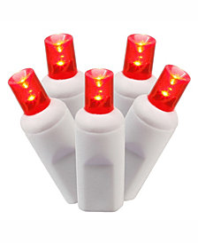 Vickerman 50 Red Wide Angle Led Light On White Wire, 25' Christmas Light Strand