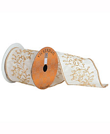 Ivory Ribbon With Gold Embroidered Vine And A Gold Edge