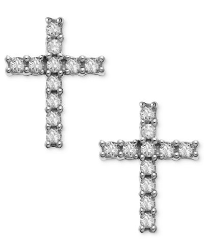 14k White Gold Earrings, Diamond Accent Cross Stud Earrings