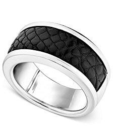 Men's Sterling Silver Ring, Black Alligator Inlay Band