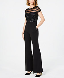 Adrianna Papell Embellished Illusion Jumpsuit