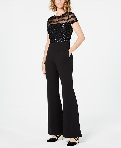 e5a61bc51650 Adrianna Papell Petite Sequined Illusion Jumpsuit   Reviews ...