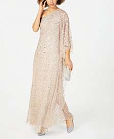 Adrianna Papell Petite Embellished One-Shoulder Gown