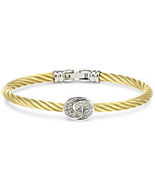 White Topaz Knot Bangle Bracelet (1/4 ct. t.w.) in Sterling Silver & Stainless Steel with Gold PVD
