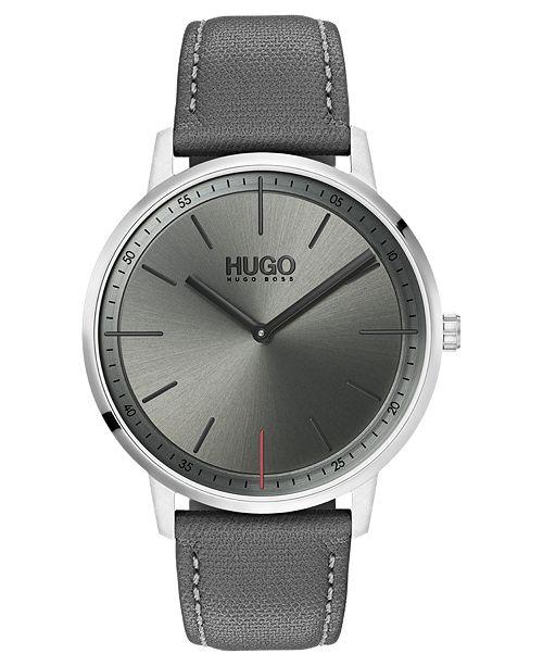 HUGO Men's #Exist Ultra Slim Gray Leather Strap Watch 40mm