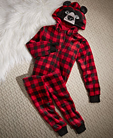 Max & Olivia Little & Big Boys Check-Print Bear Hooded One-Piece, Created for Macy's