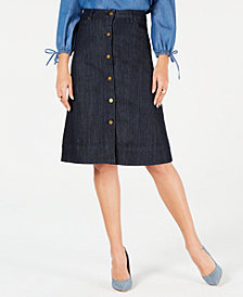 MICHAEL Michael Kors Button-Front Denim Mini Skirt