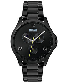 HUGO Men's #Risk Black Stainless Steel Bracelet Watch 41mm
