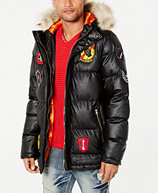Reason Men's Combat Puffer Coat with Faux-Fur Trim