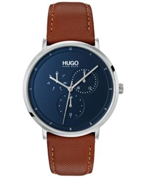 Hugo Men's #Guide Ultra Slim Brown Leather Strap Watch 40mm
