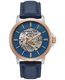 Men's Automatic Blue Leather Strap Watch 44mm