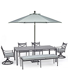 "Montclaire Outdoor Aluminum 6-Pc. Dining Set (84"" X 42"" Table, 2 Dining Chairs, 2 Swivel Chairs & 1 68"" Bench) With Sunbrella® Cushions, Created For Macy's"
