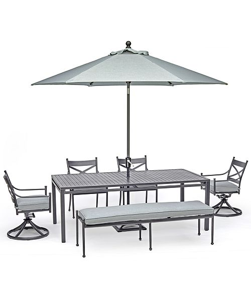 """Furniture Montclaire Outdoor Aluminum 6-Pc. Dining Set (84"""" X 42"""" Table, 2 Dining Chairs, 2 Swivel Chairs & 1 68"""" Bench) With Sunbrella® Cushions, Created For Macy's"""