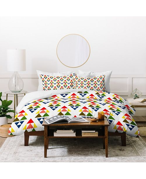 Deny Designs Holli Zollinger Bright Pennant Twin Duvet Set