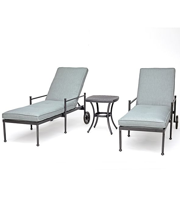 Furniture Montclaire Outdoor Aluminum 3-Pc. Chaise Set (2 Chaises & 1 End Table) With Sunbrella® Cushions, Created for Macy's