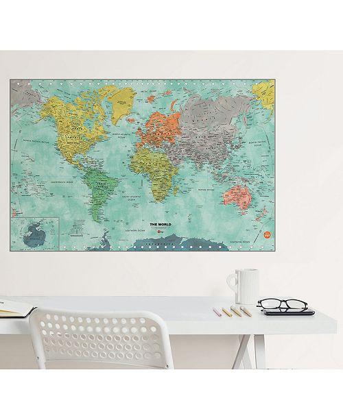 Aquarelle World Dry Erase Map on