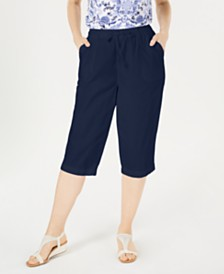 Karen Scott Petite Cotton Eyelet Chino Skimmer Shorts, Created for Macy's