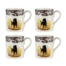 Woodland Black Lab Mug - Set of 4