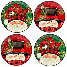 Winter's Plaid 4-Pc. Dessert Plates