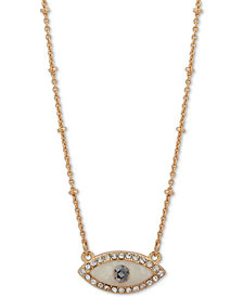 "lonna & lilly Gold-Tone Crystal & Imitation Pearl Evil Eye Pendant Necklace, 16"" + 3"" extender"