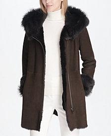 Calvin Klein Shearling Zipper Coat
