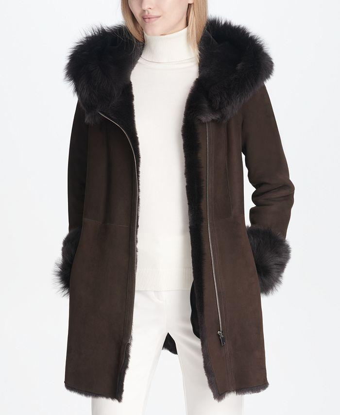 Calvin Klein - Shearling Lamb Zipper Coat